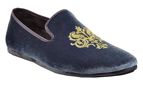 Franco Vanucci Mens Loafer Velvet Slip-On Smoking Slippers Embroidered Night Club Dress Shoe Grey-4 OxXs7D