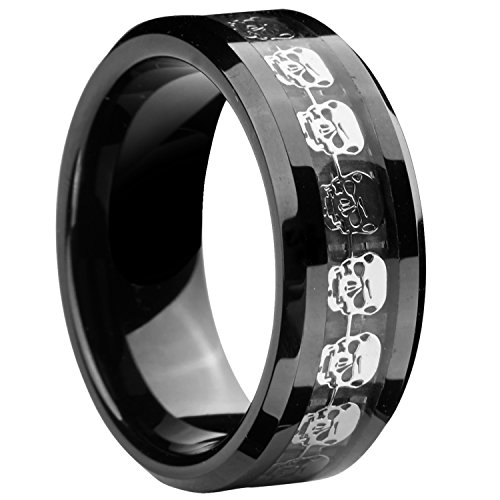 8mm Black Tungsten Carbide Ring Silver Skull Skeleton Inlay Wedding Band Men Jewelry (13)