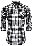 Emiqude Men's Slim Fit Flannel Cotton Long Sleeve Stylish Plaid Button Down Dress Shirt Medium Black White