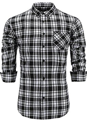 Emiqude Men's 100% Cotton Slim Fit Long Sleeve Button Down Flannel Cross Plaid Dress Shirt XL Black (White Plaid Flannel)
