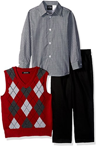 TFW Dresswear Boys' Toddler' Sweater Vest Set, red Argyle, 2T