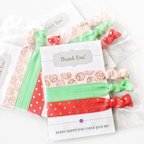 Strawberry Party Favors 5 Pack Premium Handcrafted Hair Ties Bracelets Birthday Baby Shower Bridal Bachelorette Supplies -