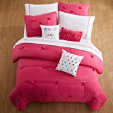 Cassicel Home Anna 2pcs Pompoms Comforter Set Soft and Cozy Bedding for Kids Teen Girls College Students Gifts Twin XL Size Bed Set, Mint Magenta Pink