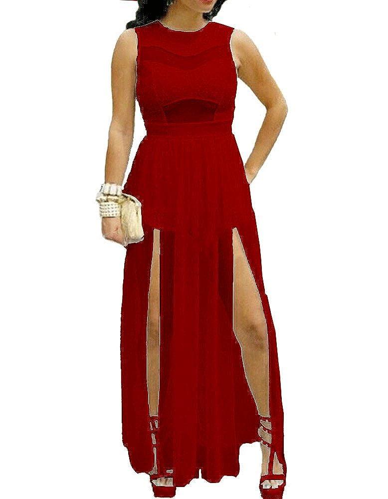 Red Dot Boutique 730 - Plus Size Double Slits Lace Chiffon Jumpsuit Maxi  Dress