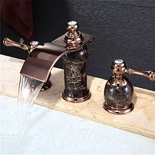 XINGAO Bathroom Basin Mixer Tap Waterfall Faucet The Sink Faucet Full Copper Paint Waterfall Faucet Bathroom Cabinet-Basin 3 Hole White Water Faucet,Modern Bath Mixer Tap Bathroom Tu (Best Value Combi Boiler)