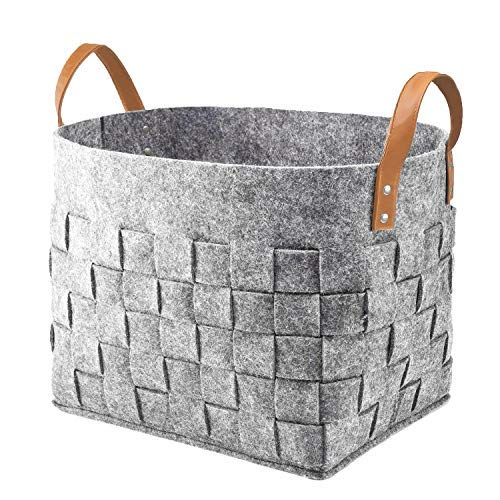 Tote Leather Dog - Large Storage Baskets Laundry Basket Storage Bins Collapsible Storage Basket Felt Basket Soft Storage Basket Organizer for Baby Nursery Bathroom Blanket Shoe Closet Kids Toys Dog Toys Light Gray