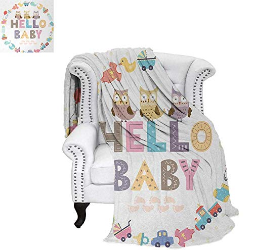 Baby Shower Beach Blanket Hello Baby Quote with Kids Elements and Funny Owl Birds Welcome Newborn Party Weighted Blanket 50 x 30 inch Multicolor -