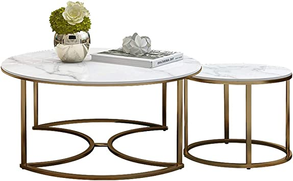 Amazon Com Lamxf Modern Nesting Tables Round Tea Table Marble Coffee Tables Metal Frame Pedestal Tables Furniture Decor