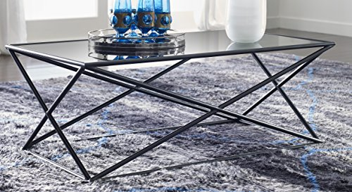 Tommy Hilfiger Azura Coffee Table with a Dark Smoke Glass Tabletop and Geometric Steel Base (Tommy Furniture)