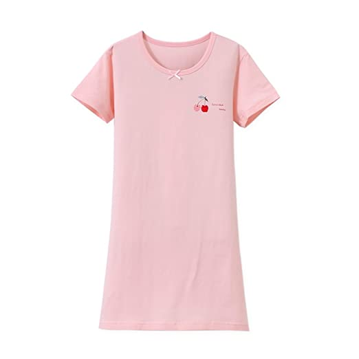 ff5b96de7f Amazon.com  Zegoo Girls Short Sleeve Crew Neck Pink White Sleep ...