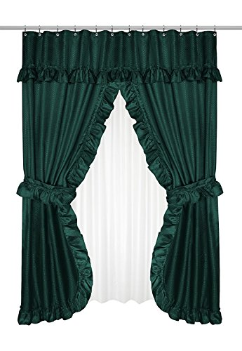 Home Bargains Plus Diamond Dot Ruffled Double Swag Fabric Shower Curtain with Valance and Liner - Evergreen