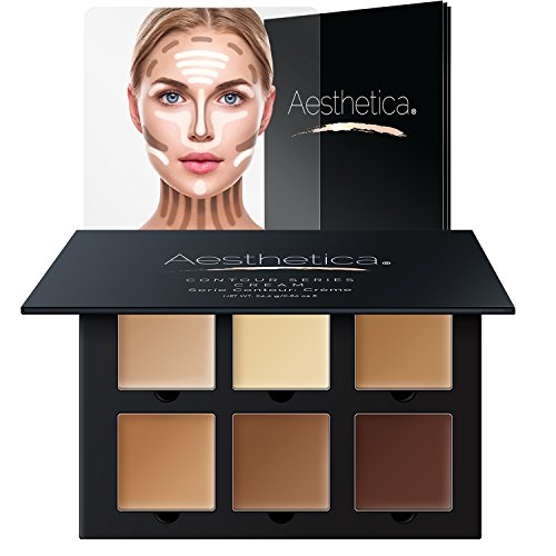 Aesthetica Cosmetics Cream Contour and Highlighting Makeup Kit - Contouring Foundation / Concealer Palette - Vegan, Cruelty Free & Hypoallergenic - Step-by-Step Instructions (Highlighting Cream)