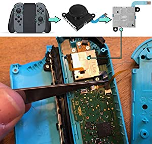 Linkstyle 4 Pack 3D Replacement Left/Right Analog Joystick Thumb Sticks, Joystick Thumb Sticks Sensor Flex Cable for Nintendo Switch Joy-Con Controller (Upgraded, New Case Packing, with Extra Screw)