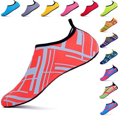 Giotto Pieds Nus Chaussures De Leau Yoga Plage Nager Aqua Chaussures Pour Femmes Hommes F2-rouge
