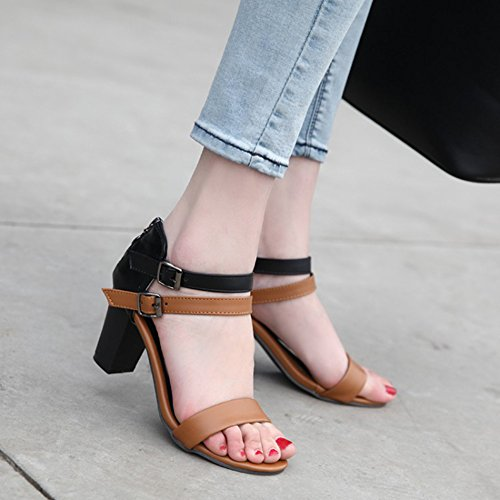 Easemax Kvinna Trendiga Sömmar Färg Fotled Spänne Remmar Öppen Tå Dragkedja Höga Chunky Klack Sandaler Brun