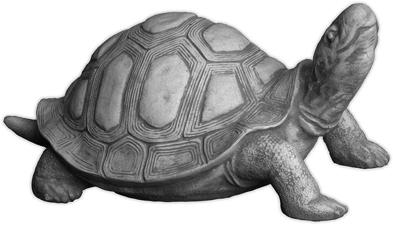 Grand deco personnage métal tortue argent étang Gartendeko sculpture statue