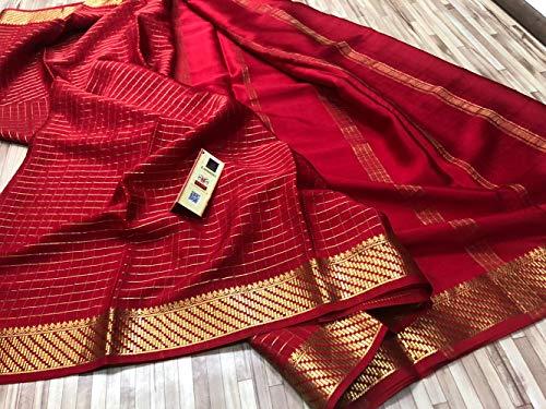 KSIC Grade Mysore Crepe Silk Sarees with Check Body (Red)