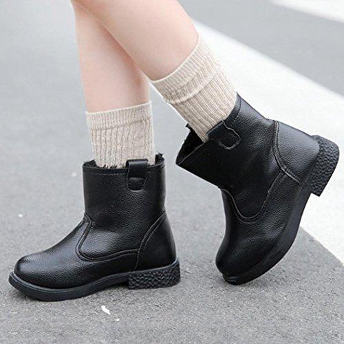 Clode® Kinder Mode Mädchen Martin Solide Sneaker Winter Warme Baby Freizeitschuhe Stiefel Schwarz
