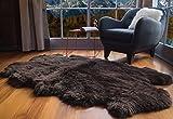 Super Area Rugs Genuine Australian Sheepskin Fur Rug, Four Pelt 4' x 6', Brown