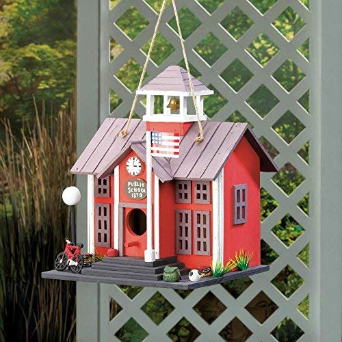 Public School Schoolhouse Birdhouse Red Two Story with Bell Decorative Wood