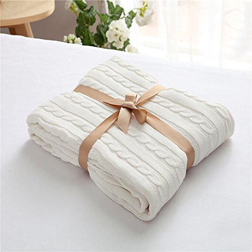 ZHIMIAN Vintage Reversible 100% Cotton Cable Knit Blanket Super Soft Lightweight Throws 50