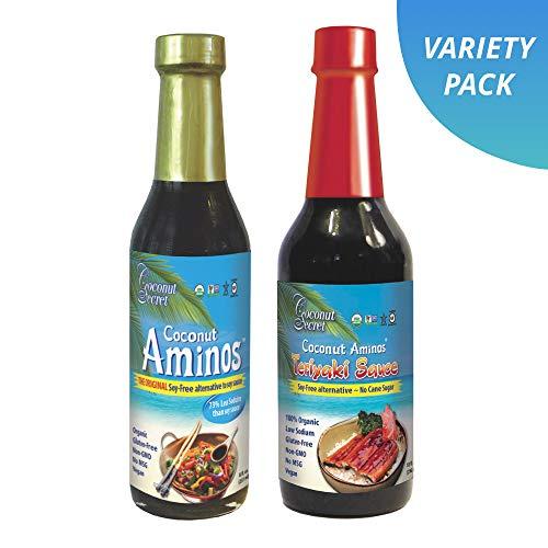 Coconut Secret Coconut Aminos Variety Pack - Coconut Aminos Original & Teriyaki Sauce - 1 Each, 8-10 fl oz - Organic, Vegan, Non-GMO, Gluten-Free, Kosher - 68 Total Servings
