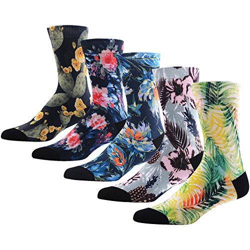 Novelty Awesome Crew Athletic Socks for Men, MEIKAN Colorful Floral Flower Plant Fancy Design Printed Mid Calf Socks ,5 Pairs Color 2,One Size by MEIKAN