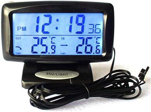 Termómetro para Autos con Temperatura De Medición del Reloj Kit para Autos Reloj Electrónico Pantalla Digital Reloj Termómetro Electrónico Interior Y Exterior Doble Temperatura Luminoso: Amazon.es: Hogar