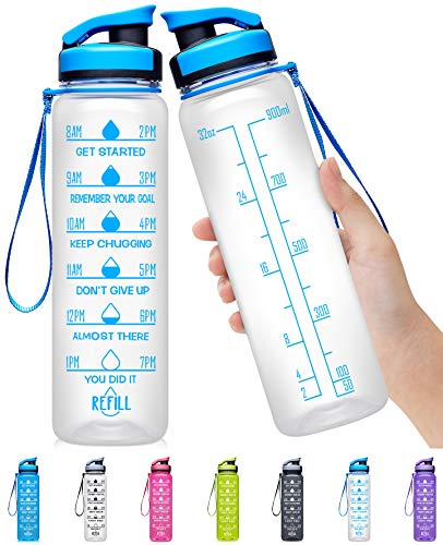 Elvira 32oz Large Water Bottle with Motivational Time Marker & Removable Strainer,Fast Flow BPA Free Non-Toxic for Fitness, Gym and Outdoor Sports-Transparent-Blue