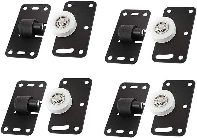Szlsl88 - Juego de 4 ruedas para puerta corredera para muebles, polea gruesa, resistente al desgaste, resistente al desgaste, ruedas de nailon cóncavas ajustables: Amazon.es: Hogar
