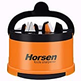 cutco knife sharpener - Horsen 2 Stage Knife Sharpener with Suction Cup ,Coarse and Fine Sharpening System (Orange)