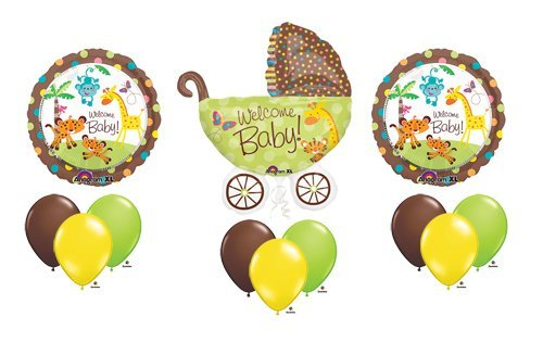 1 X Fisher Price Welcome Baby Shower Stroller Jungle Animal Pram Balloon Bouquet Set (Baby Shower Jungle Decorations)