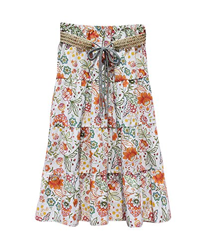 1 A Maxi Couleur Imprim Jupes Taille t Swing lastique Femme Floral Taille lasticit Casual Grande Line Jupes Voyager Bohme Vacances Plage HTIWpqR