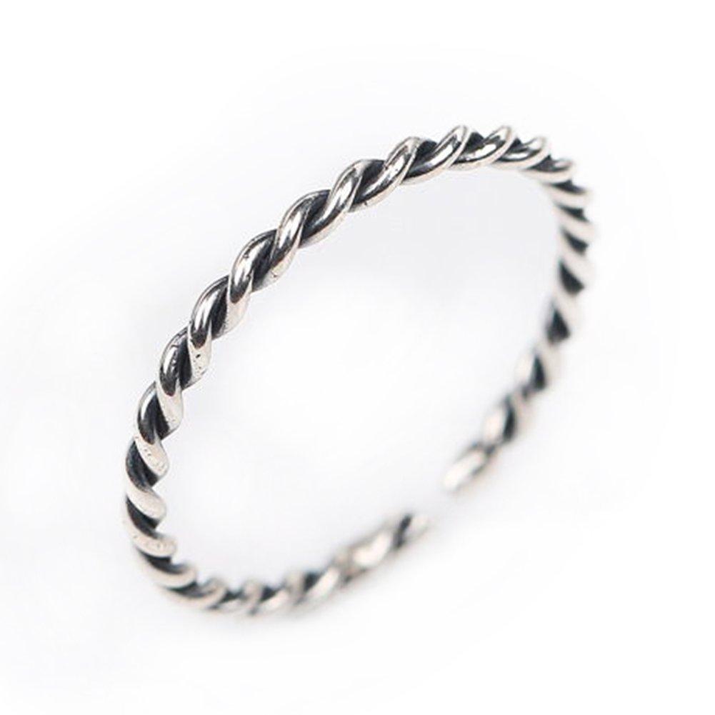 Qinlee Twist Bague Argent Femme Brillant Réglable Milieu anneau anneaux Classique Bijoux Cadeau de l'amour Femme1 lxnjz010