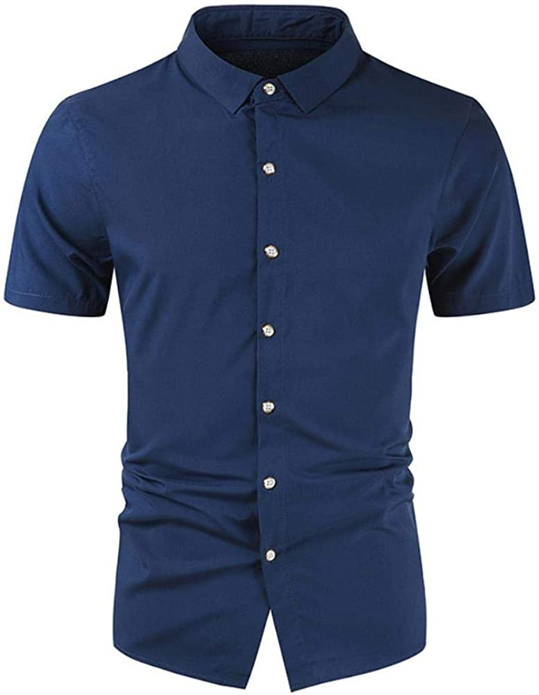 qulvyushangmaobu Camisa Casual de Manga Corta para Hombre ...