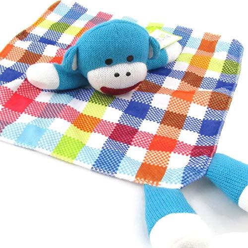 Sock Monkey Security Blanket 'Lovey' Turquoise Blue Plaid/Satin (Pink Sock Monkey Lovey)