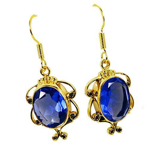 - Jewelryonclick Oval Shape Blue Sapphire CZ Dangle Earrings For Women Gold Plated Fashion Indian Jewelry