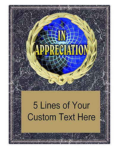 Express Medals 5x7 Black Marble Color Appreciation Thank You Plaque Award Trophy with Engraved Plate FCL498