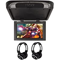 Package: Rockville RVD17HD-BK Black 17 Flip Down Car Monitor DVD Player With HDMI, USB/SD Inputs, Games, And Wireless Remote/Game Controller + (2) Rockville RFH3 Dual Channel Wireless Ir Headphones