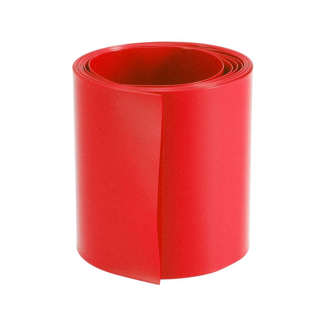 sourcing map PVC Termoretr/áctil Tubo 66mm Plano Ancho para Bricolaje AA 2 Metros Rojo