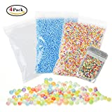 Mini Styrofoam Balls for Slime, Holody 3 Pack Micro Small Foam Beads and 1 Pack Fruit Slices for Making Floam, Rainbow, White and Blue, 0.1-0.18 Inch, 61000 Piece