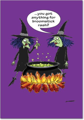 3096 Broomstick Rash Unique Humor Halloween Greeting Card with Envelope