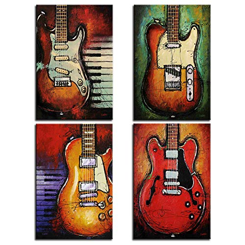 Wall Art Abstract Guitar Canvas Red Purple Green Orange Prints Paintings Home Decor Decal Life Pictures 4 Panel Posters HD Printed for Bedroom Living Room Framed Ready to Hang (16