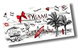 "Custom & Luxurious {30"" x 60"" Inch} 1 Single Large & Thin Soft Summer Beach & Bath Towels Made of Quick-Dry Cotton w/ Classic Vintage Miami Florida South Beach Ocean Drive Souvenir Style [Multicolor]"