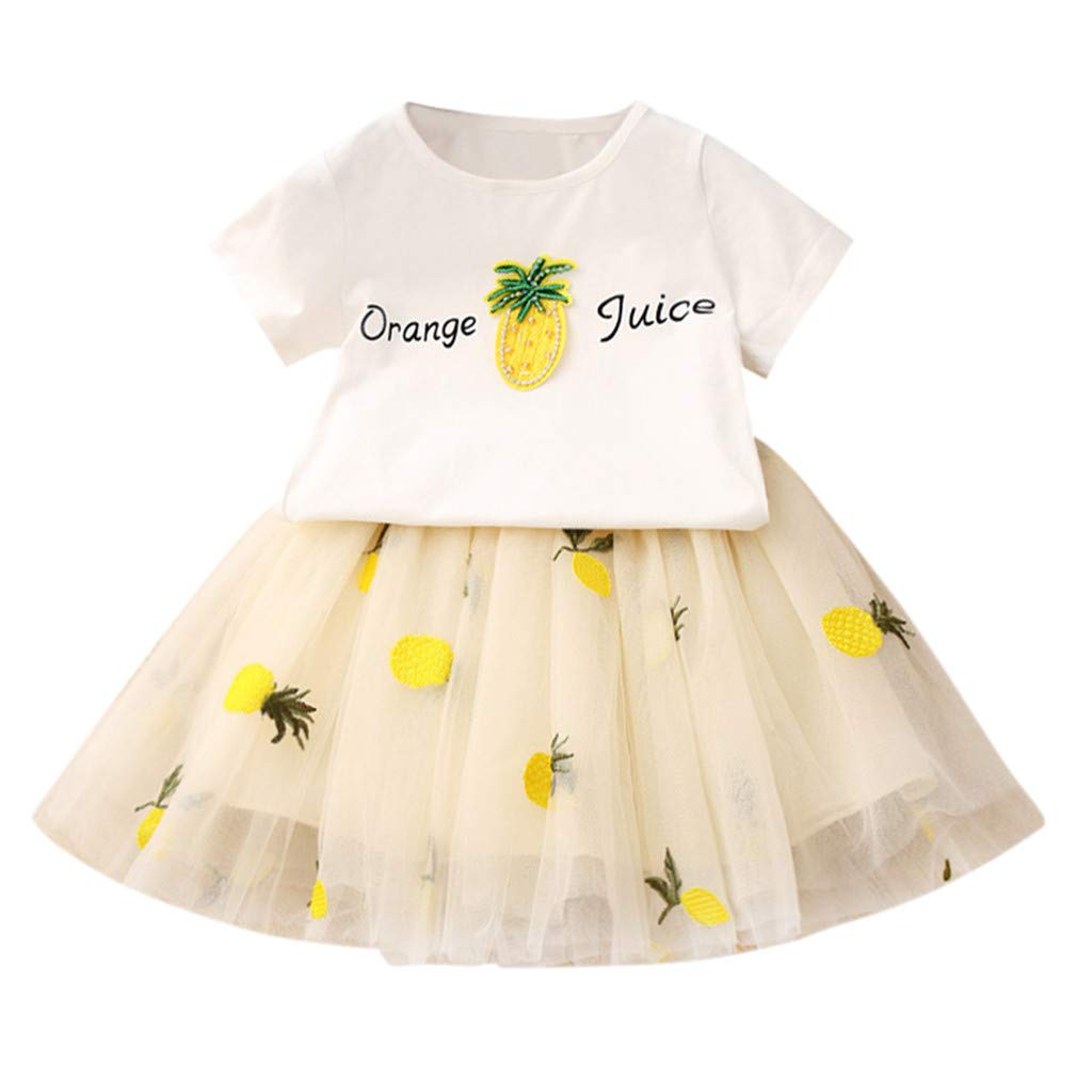 Baby Girls Dress 2pcs Set, Toddler Short Sleeve Tops T-Shirt+Pineapple Tutu Skirt Outfits Clothes (2-3 Years, Yellow)