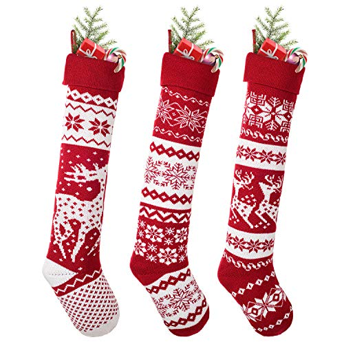 DearHouse 3 Pack Knit Christmas Stockings, 26 Inch Extra Long Hand-Knitted Maroon/White Big & Little Reindeer Snowflakes Holiday Décor (Big Reindeer, Little Reindeer, Snowflakes) (Christmas Fair Stockings Isle)