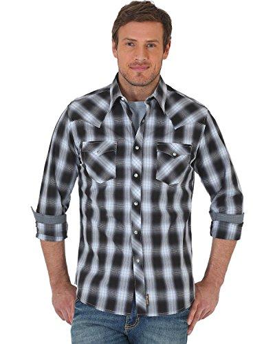 Wrangler Men's Retro Black/Grey Plaid Premium Long Sleeve Snap Shirt Black X-Large (Shirt Retro Western Snap)