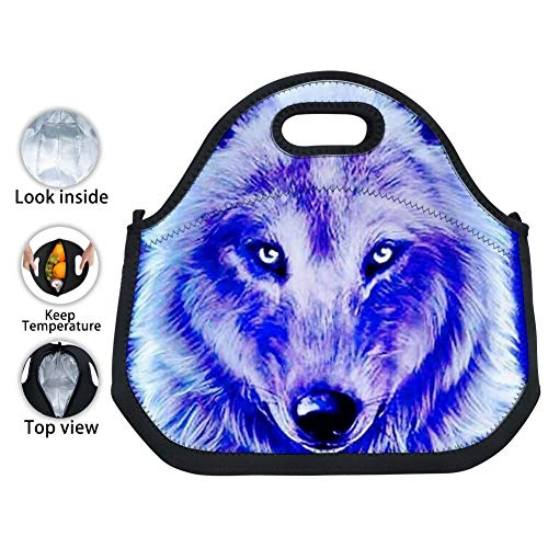 YPOHG Galaxy Wolf Printed Insulated Lunch Bag, Neoprene Lunch Bags for Women Kids Girls Men Teen Boys, Picnic School Travel Work Tin Foil Tote Bag