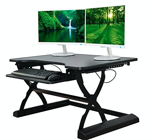 The House of Trade DeskRiser PRO Adjustable Height Standing Desk | 36 in Wide Stand Up Desk fits Dual Monitors Desktop Converter - Heavy Duty Supports up to 50 Lbs (36in Black)