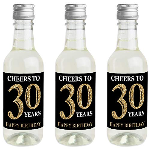 Adult 30th Birthday - Gold - Mini Wine and Champagne Bottle Label Stickers - Birthday Party Favor Gift for Women and Men - Set of 16 -